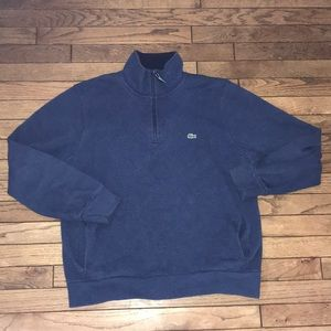 LaCoste Blue Quarter Zip Pullover Sweater